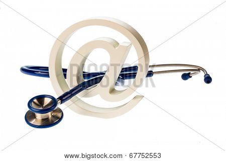 an email sign and a stethoscope on a white background. symbolic photo for internet in the doctor's office.