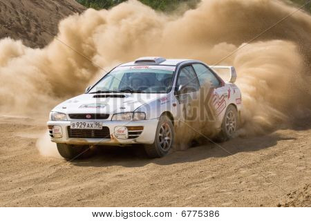 Rostov, Russia - July 27: Vasiliy Reutov Drives A Subaru Impreza  Car During Rostov Velikiy Russian