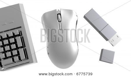 Computer mouse, keyboard and memory stick