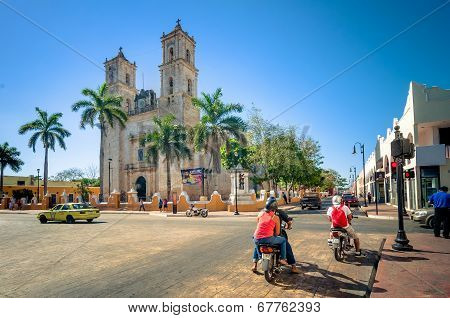 main square with Cathedral in Valladolid, Mexico