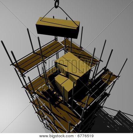 Scaffold and Crane