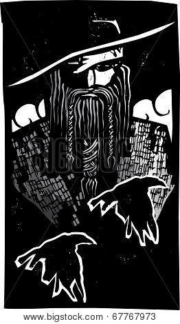Norse God Odin With 2 Ravens