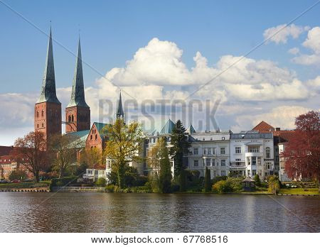 Trave River, Old Historic Town Of Lubeck, Germany