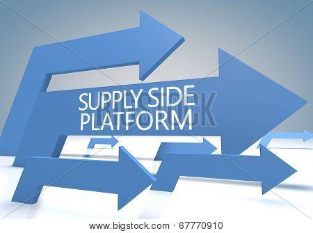 Supply Side Platform 3d render concept with blue arrows on a bluegrey background. poster
