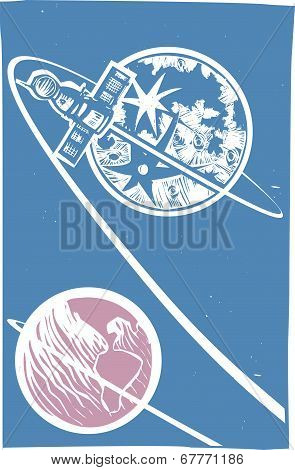 Soyuz Orbiting The Moon