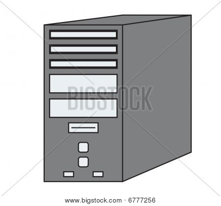 PC Computer Tower Vector Icon Illustration