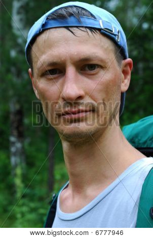 Concentrated Tourist In The Forest