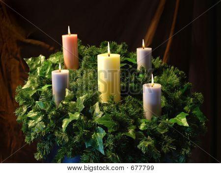 Urlaub Kerzen und Kranz