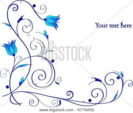 Beautiful frame with blue curls and flowers