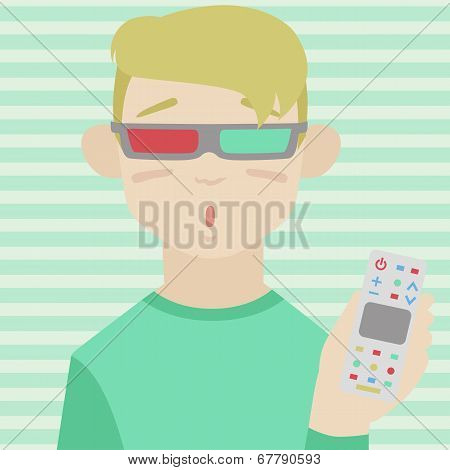 Child Watching 3D Movie Flat Illustration