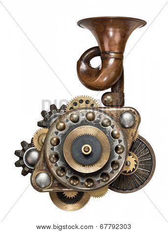 Stylized metal collage of mechanical device.