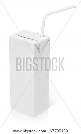 200 ml milk or juice carton package with straw isolated on white with clipping path poster