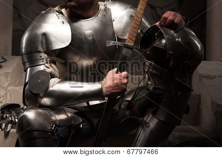 Closeup portrait of medieval armor