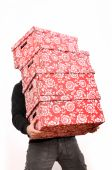 Man is carring four red cardboard boxes with flower ornaments poster