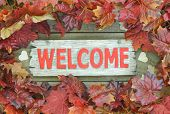 Colorful fall leaves border red wooden welcome sign with wood hearts poster