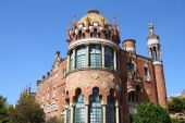 Hospital de la Santa Creu i Sant Pau - modernist building by famous architect Lluis Domenech i Montaner. Architecture of Barcelona inscribed on UNESCO World Heritage List. poster
