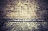 Stone wall and pavement of old town square. Instagram Effect poster