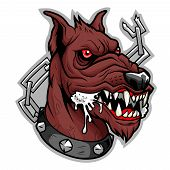 Stylized head of mad furious brown dog unleashed. poster
