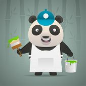 Illustration, panda painter holds brush bucket of paint, format EPS 10 poster