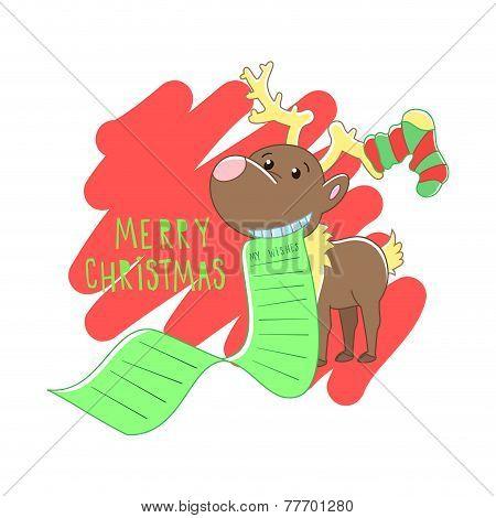 Christmas reindeer illustration. Vector background.