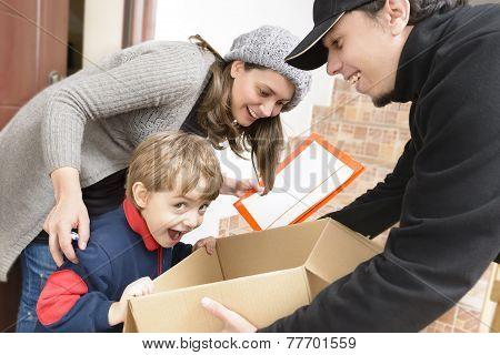 Courier Delivering A Package