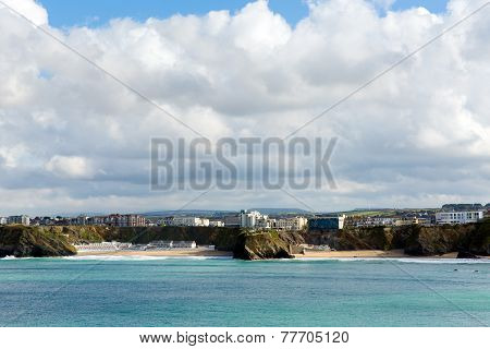 Tolcarne and Great Western beaches Newquay coast Cornwall UK