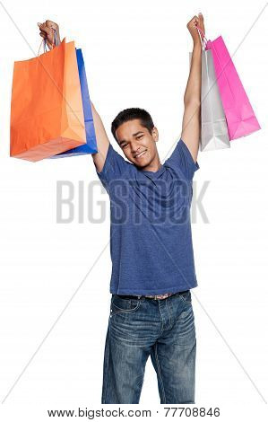 Happy Young Man With Shopping Bags