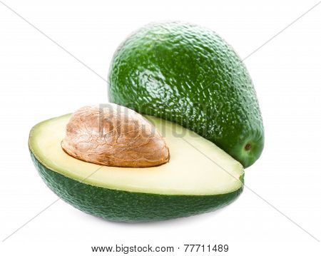 ..avocado Isolated On White Background. Fresh Green Avocado Fruit Macro.