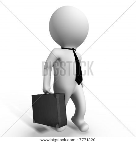 Businessman with his briefcase - a 3d image