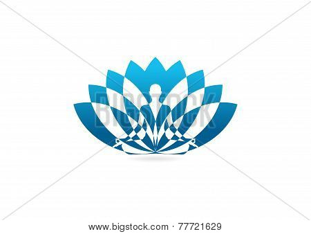 lotus yoga pose vector logo design template