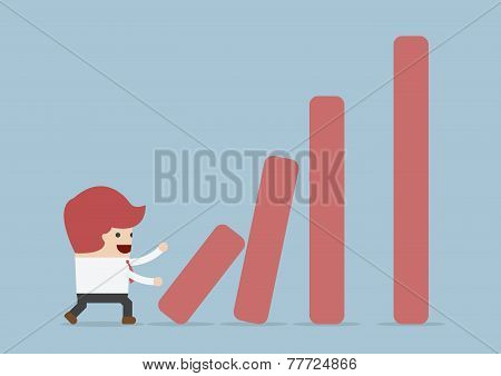 Businessman Pushing Bar Graph, Dominoes Effect Concept
