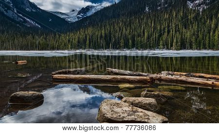 Canadian Lake With Rocks And Snow Mountains
