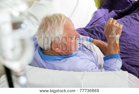 Older man receives infusion
