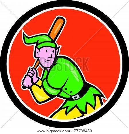 Elf Baseball Player Batting Circle Cartoon