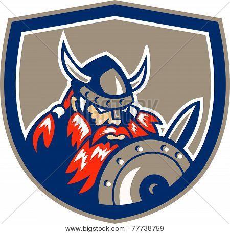 Viking Raider Barbarian Warrior Shield Retro