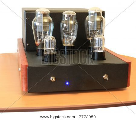 vacuum tube amplifier on 300B triodes isolated poster