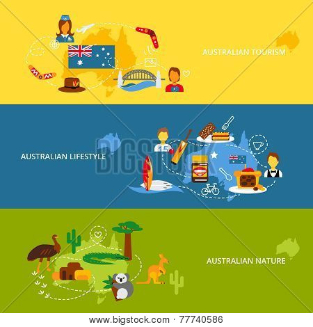 Australia flat banner set