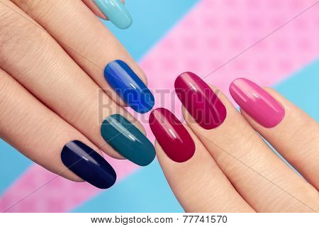 Blue pink manicure.