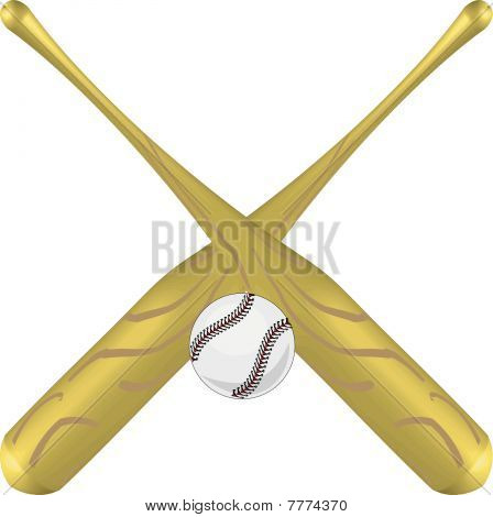 Golden Crossed Baseball Bats And Ball