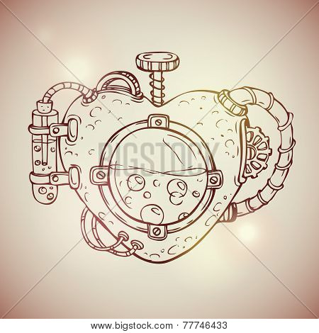 Cool steampunk mechanical heart, hand drawn illustration poster