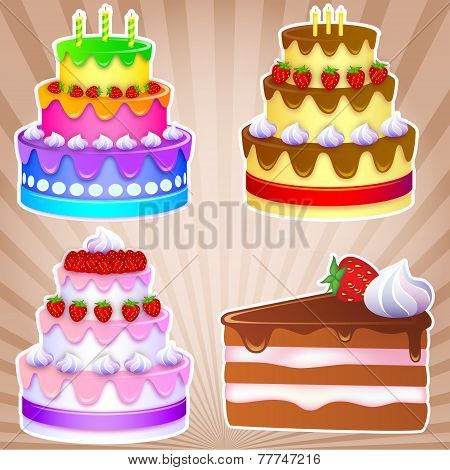 3 Sweet Cakes For Holiday And One Piece Of Chocolate Cake With Strawberries And Cream. Vector Illust