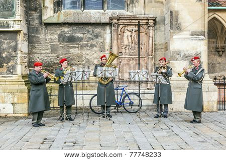 military music at the cathedral in Vienna Austria
