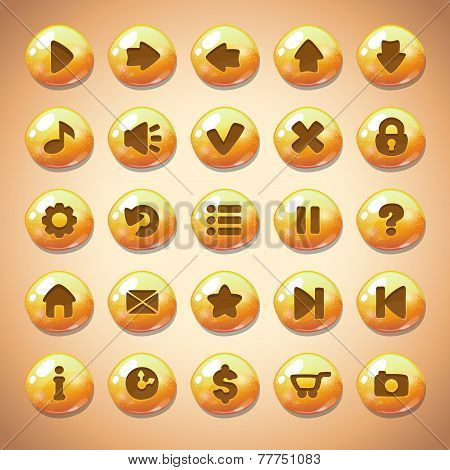 Set of yellow round buttons