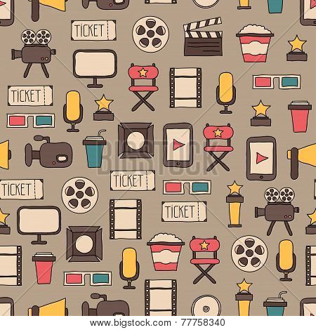 Seamless pattern of doodle colorful movie design elements and cinema icons in flat style. Vector ill