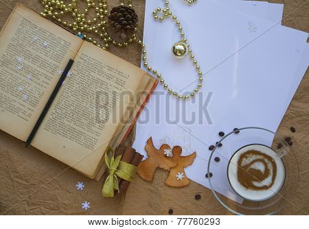 Winter holidays congratulations for bookworms