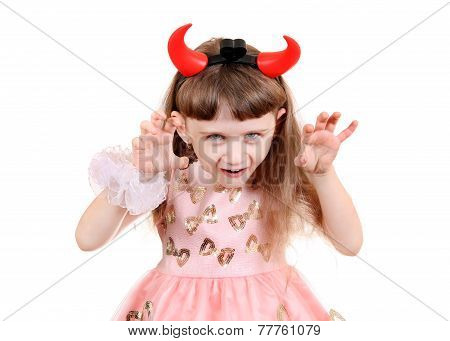 Little Girl With Devil Horns