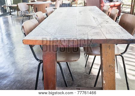 Set Of Wooden Chair And Table