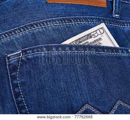 Dollars Money In Jeans Pocket