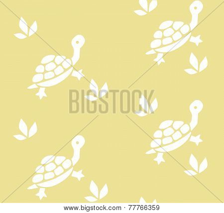 Seamless Pattern With Funny Turtles
