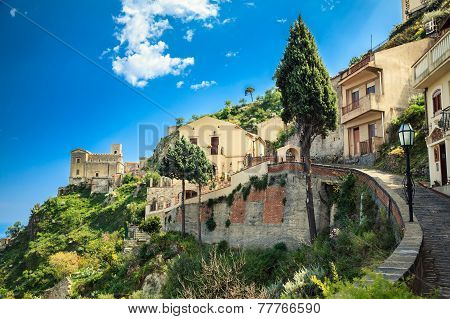road leading to the Church of St. Nicolo in Savoca small village near Taormina Sicily Italy poster